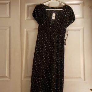 Midi navy and pink polka dotted dress
